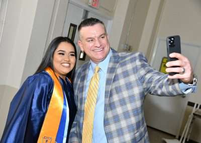 Cristo Rey Tampa President and student at 2021 graduation